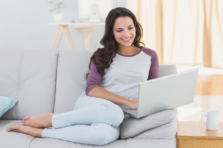 long hair woman: Pretty brunette using her laptop at home in the living room Stock Photo