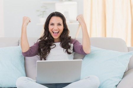 laptops: Pretty brunette cheering with laptop at home in the living room Stock Photo