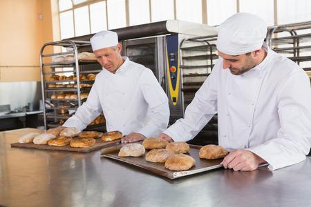 tiendas de comida: Bakers comprobaci�n reci�n horneado de pan en la cocina de la panader�a