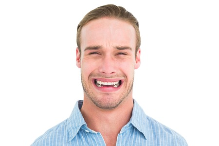 adult crying: Portrait of man handsome crying on white background
