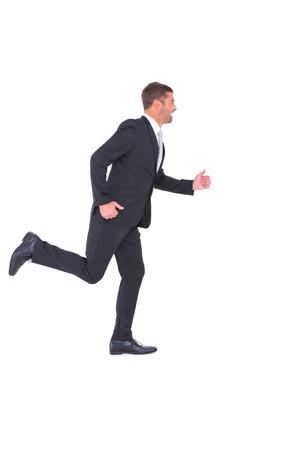 businessman running: Businessman running on white background