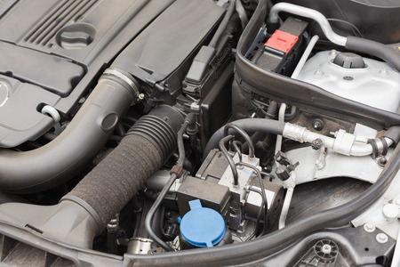 engine bonnet: Overhead of engine in bonnet in a car Stock Photo