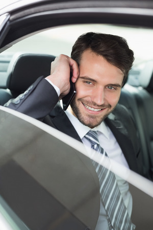 phoning: Young businessman on the phone in his car Stock Photo