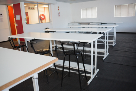 class room: Empty class room in college Stock Photo