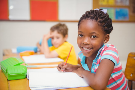 student in class: Cute pupils drawing at their desks one smiling at camera at the elementary school Stock Photo