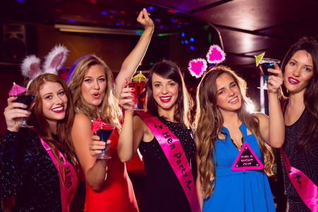 costumes: Pretty friends on a hen night at the nightclub