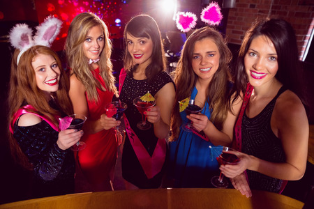 hen party: Pretty friends on a hen night at the nightclub