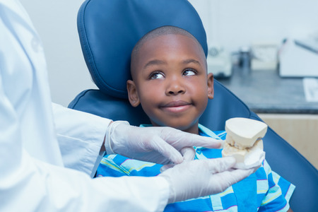 prosthesis: Cropped dentist showing young boy prosthesis teeth in the dentists chair