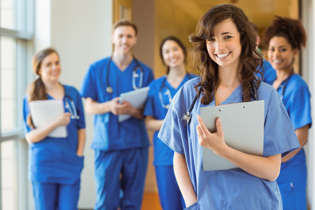 medical students: Medical students smiling at the camera at the university