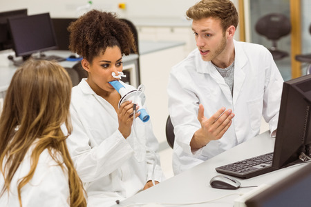 medical students: Medical students working together in the lab at the university Stock Photo