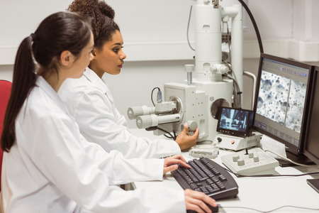 medical school: Science students looking at microscopic image on computer at the university Stock Photo