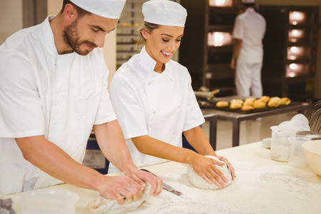 fresh bakery: Team of bakers kneading dough in a commercial kitchen