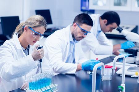 대학의 실험실에서 화학 물질을 사용하는 과학 학생들