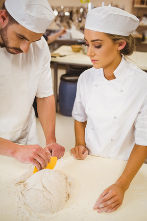 pastry chef: Team of bakers preparing dough in a commercial kitchen