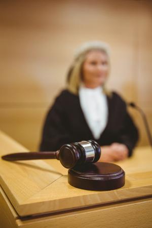 trial indoor: Gavel resting on sounding block in the court room