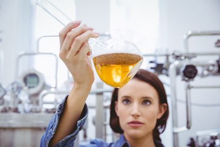 microbrewery: Stylish brunette in denim jacket looking at beaker of beer in the factory