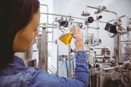 microbrewery: Stylish girl in denim jacket holding beaker of beer in the factory