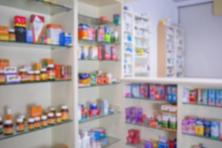 farmacia: Close up de estanter�as de medicamentos en la farmacia Foto de archivo