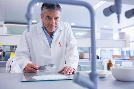 biochemist: Smiling biochemist preparing some medicine in laboratory Stock Photo