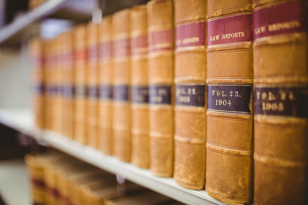 Close up of a lot of law reports in library Stockfoto
