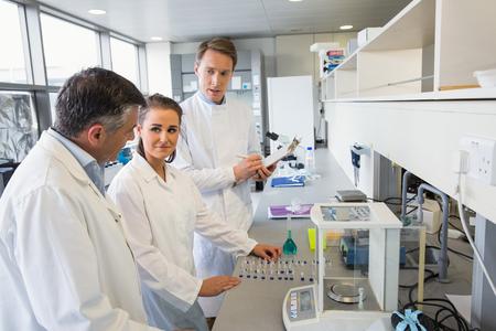 bata de laboratorio: Equipo de cient�ficos que trabajan juntos en el laboratorio