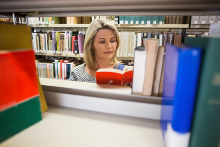 mature student: Mature student reading a book in library at the university