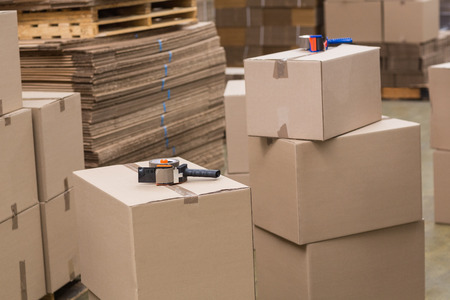 packaging: Preparation of goods for dispatch in a large warehouse Stock Photo