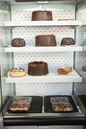 indulgent: Desert case with delicious cakes at the bakery