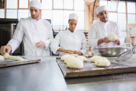 raw food: Serious colleagues kneading uncooked dough in the kitchen of the bakery