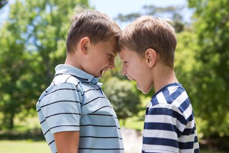 Little boys having a fight on a sunny day Stockfoto