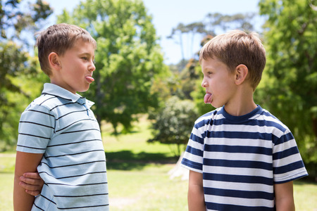 family fight: Little boys having a fight on a sunny day Stock Photo