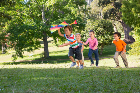 kite flying: Children playing with kite in park on a sunny day