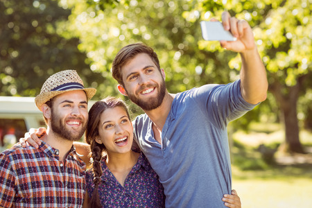 summers: Hipster friends taking a selfie on a summers day Stock Photo