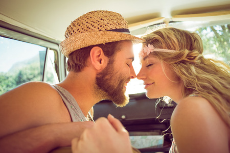 summers: Hipster couple on road trip on a summers day Stock Photo