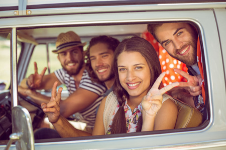 hipster: Hipster friends on road trip on a summers day Stock Photo