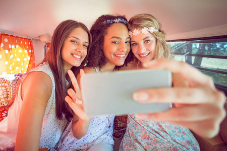 summers: Hipster friends on road trip on a summers day Stock Photo