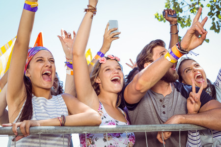 festival: Excited music fans up the front at a music festival Stock Photo