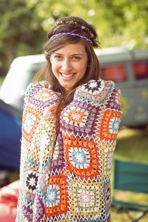crotchet: Pretty hipster wrapped in crotchet blanket at a music festival