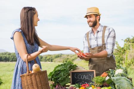 farmer sign: Farmer selling his organic produce on a sunny day