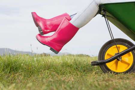 Woman sitting in a wheelbarrow on a sunny day photo