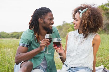 bebiendo vino: Joven pareja en un vino para beber picnic en un día soleado Foto de archivo