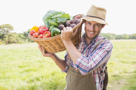 baskets: Farmer carrying basket of veg on a sunny day