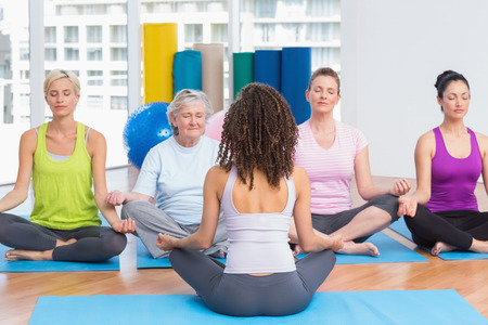 classes: Group of people practicing lotus position in yoga class Stock Photo