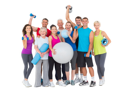Full length portrait of happy people with exercise equipment against white background