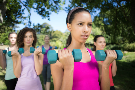 Fitness group lifting hand weights in park on a sunny day photo
