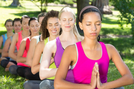 Fitness groep doet yoga in het park op een zonnige dag