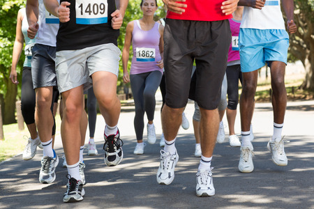caucasian race: Fit people running race in park on a sunny day Stock Photo