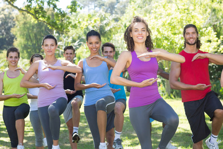 multiracial groups: Fitness group doing tai chi in park on a sunny day