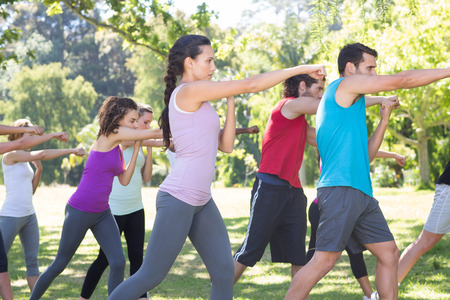 martial arts woman: Fitness group working out in park on a sunny day Stock Photo