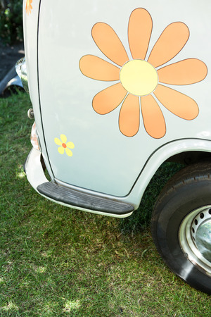summers: Flower sticker on side of van on a summers day Stock Photo